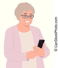 het kijken, vrouw, mensen, gelukkig, karakter, bejaarden, mobiele telefoon, ontwerp, senior, spotprent