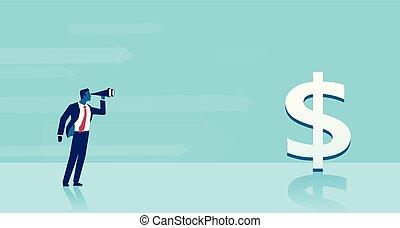 het kijken, zakelijk, succesvolle , grondig, ideeën, verrekijker, vector, investering, man