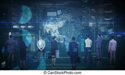 het kijken, zakenlui, interface