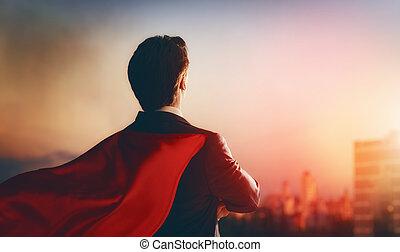 het kijken, zakenman, superhero, stad