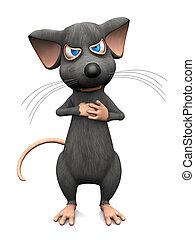 het kijken, zeer, muis, spotprent, angry.