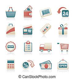 het kleinhandels winkelen, iconen