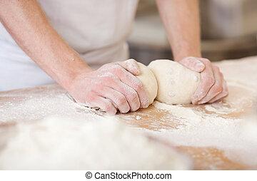 het kneden, bakker, deeg
