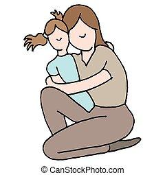 het koesteren, dochter, jonge, haar, moeder