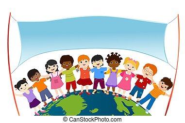 het koesteren, elke, anders, childhood., groep, anderen, spandoek, vrede, multicultureel, oneness., het glimlachen, globe., lege, multiethnic, kindergarten., kinderen, vrijstaand, vrolijke , vasthouden, twee, staven