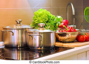 het koken, closeup., dieet, keuken