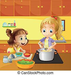 het koken, dochter, samen, moeder