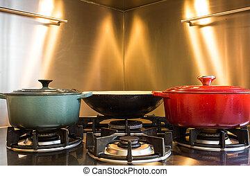 het koken, elegant, pot, hotel, gas, fire., uitrusting, workshop, closeup, luxe, hebben, heeft, kachels, keuken