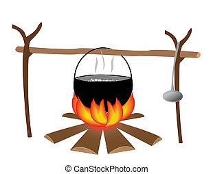 Eps vector van kok cook het koken of bbq grill het koken kok cook csp5540544 for Beeldkoken