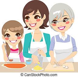 het koken, gezin, samen, pizza