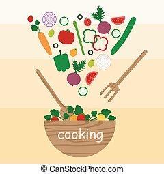 het koken, groente, slaatje