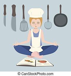 het koken, het peinzen, vector, meisje, spotprent, voor