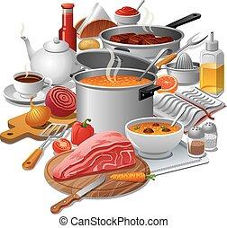 het koken, maaltijd