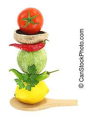 het koken, met, groentes