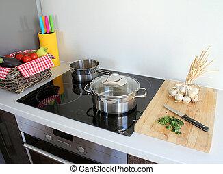 het koken, moderne, keuken