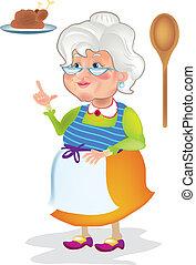 het koken, oma