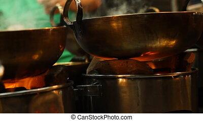 het koken, open, azie, kachels, traditionele