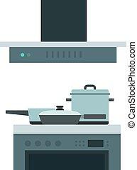 het koken, plat, vector, vrijstaand, ventilator, extractor,...