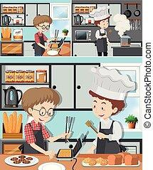 het koken, stand, man