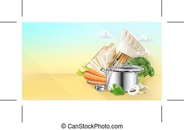 het koken, vector, achtergrond