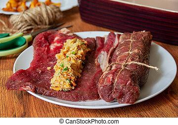 het koken, vlees, rol