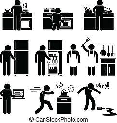 het koken, was, man, keuken