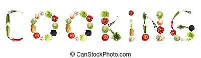 het koken, woord, gemaakt, van, groentes