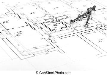het kompas van de tekening, op, bouwschets