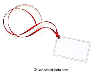 het krullen, de markering van de gift, lint, leeg, rood