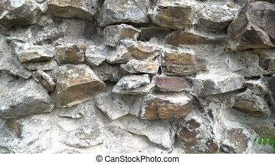 het leggen, van, wild, steen, textuur, van, wild, steen, wall., 4k, video