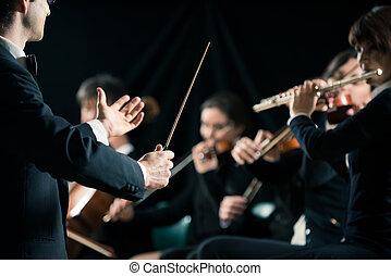 het leiden, het orkest van de symfonie, dirigent