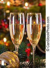 het leven van kerstmis nog, met, champagne.