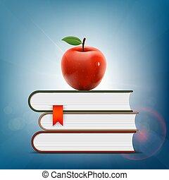 het liggen, books., stapel, appel, rood