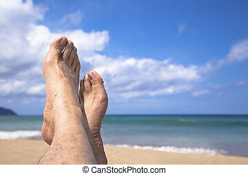 het liggen, mijn, strand, voetjes, zomer, schouwend, genieten, vakantie