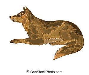 het liggen, vector, dog, illustratie