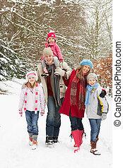 het lopen van de familie, door, besneeuwd, bosterrein