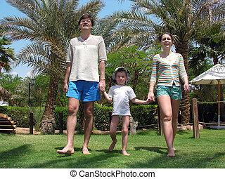 het lopen van de familie, gras