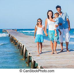het lopen van de familie, houten, kade