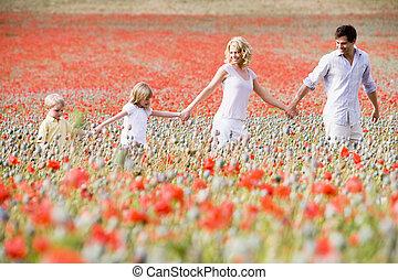 het lopen van de familie, in, klaproos, akker, holdingshanden, het glimlachen