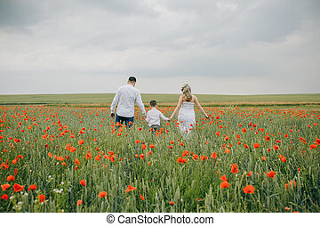 het lopen van de familie, in, klaproos, akker, holdingshanden