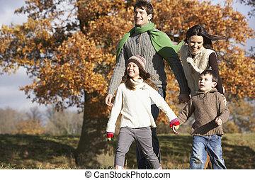 het lopen van de familie, in park