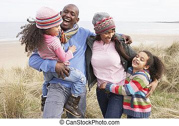 het lopen van de familie, langs, duinen, op, winter, strand