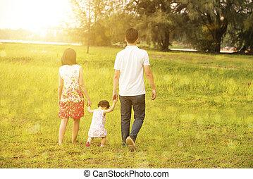 het lopen van de familie, op, buiten, park, in, ondergaande zon