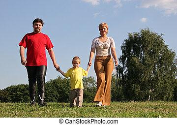 het lopen van de familie, op, weide