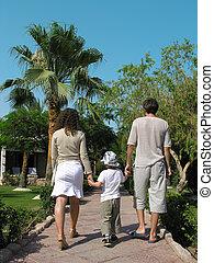 het lopen van de familie, palm