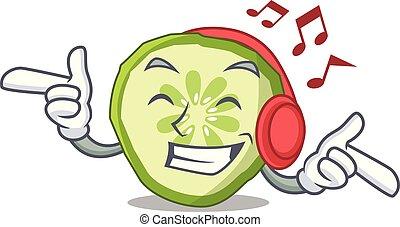 het luisteren, muziek, mascotte, snede, komkommer, om te koken, groente