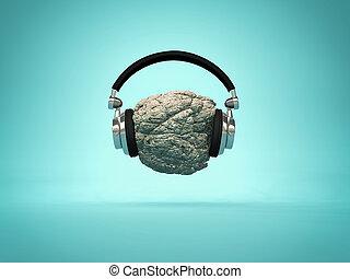 het luisteren, wieg muziek, concept