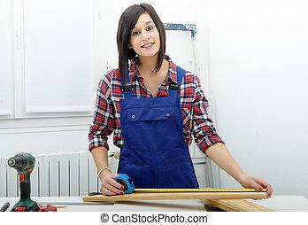 het meten, aannemer, hout, mooi meisje, plank