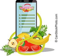 het meten, dietic, smartphone, illustration., groentes, app, dieet, naast, vector, cassette, plan, vruchten, scherm, it.