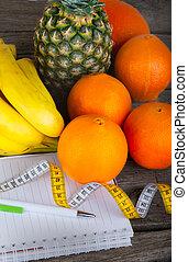 het meten, gezond dieet, fruit, cassette, w